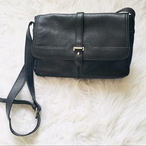 Vintage Aurielle Black Leather Crossbody Bag